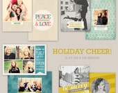 Holiday Cheer 5x7 Flat Christmas card designs - templates for photographers