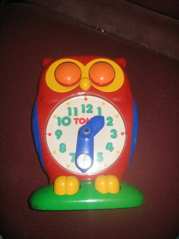 Tomy owl clock Vintage classroom educational toy 1980's