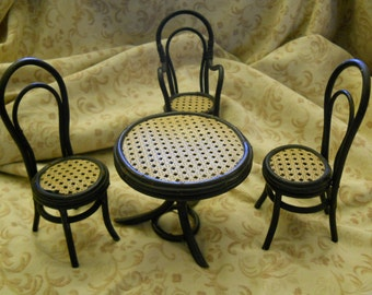 Vintage Miniture Wicker Table and 3 Chairs