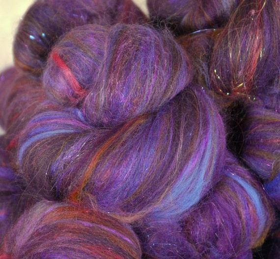 Fiber Batts for spinning -  Heliotrope  (2 oz.) merino, wool, silk,  firestar, angelina sari silk, silk noil
