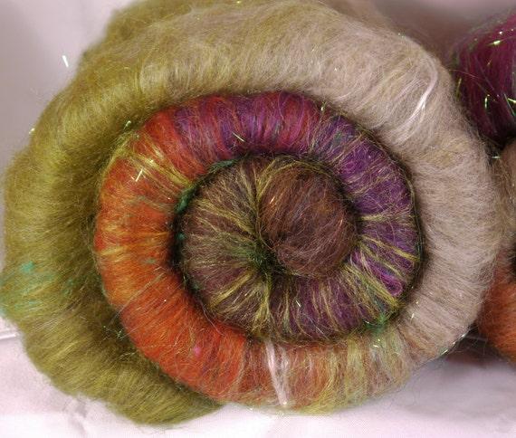 Fiber Batts for spinning - Pheasant (3.15 oz.) alpaca, merino, wool,  bamboo, silk, silk noil,  angelina