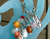 Beaded keychain purse Clip, White and Orange Wooden Russian Doll,Orange&White Glass beads.