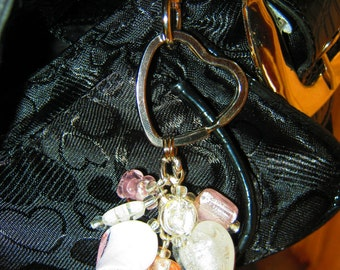 Keychain, purse charm,Pink and White lampwork  glass beads