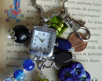 Tic Tac Keychain, Purse Clip made with Blue,Lime& Black Glass Beads, Porcelain Flower Bead Including Watch Face