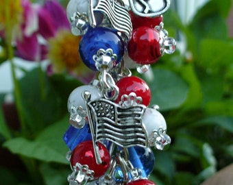 Patriotic,Red, White and Blue American Beaded Purse Charm,