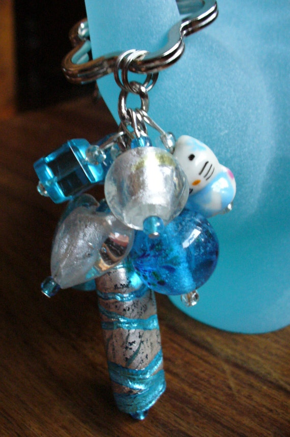 Hello Kitty Beaded keychain, purse charm, Made with white and blue Beads.