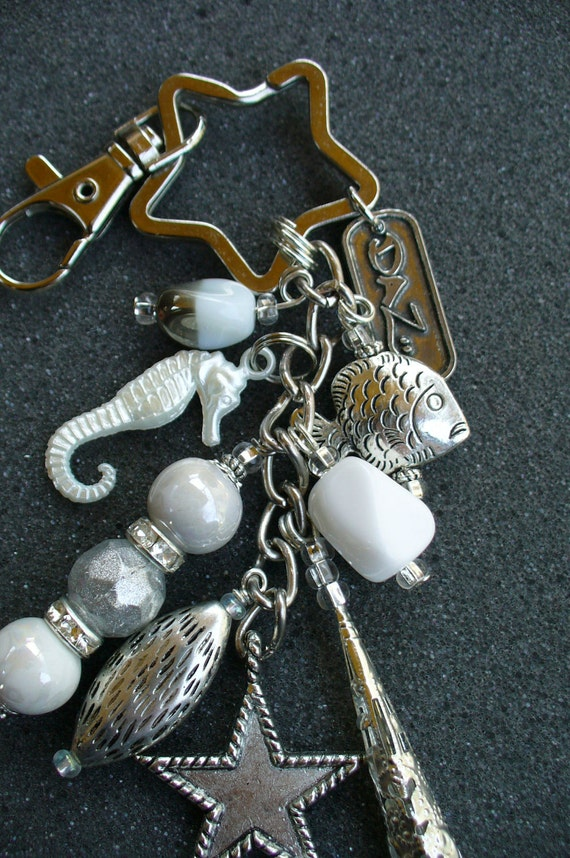 Seahorse Keychain, Purse Clip, Made with Silver and White Charms.