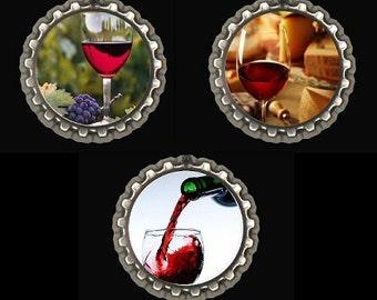 Wine Fridge Kitchen Office Locker Magnets Party Favors Hostess Gift Bottle Caps Set of 3