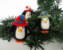 Needle Felting Kit - Sweet Penguin Kit- Easy Felting Kit - Holiday kit