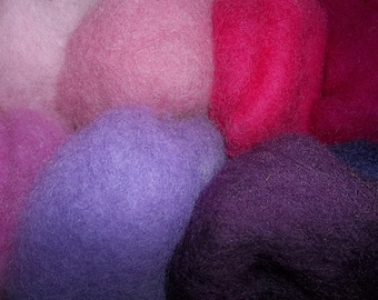 Needle Felting Wool- Berry Patch Wool Sampler-Wet Felting Wool