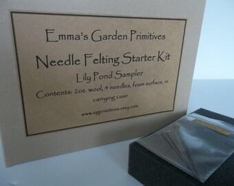 Needle Felting Kit-Needle Felting Starter Kit - Lily Pond Colors