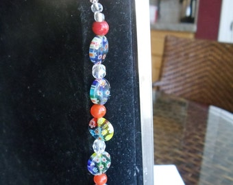 Beaded Bookmark Millefiore Beads Faceted Crystal Glass Beads Orange Glass Beads  Silver Shepard's Hook