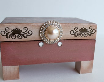 One of a Kind Hand Painted Jewelry Box, Trinket Box, Stash Box, Dusty Rose, Tan, Decoupaged Box