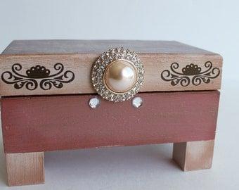 One of a Kind Hand Painted Jewelry Box, Trinket Box, Stash Box, Dusty Rose, Tan, Decoupaged Box