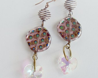 Amethyst Earrings Round Glass & Wire Beaded Earrings Sparkling Glass Hearts Copper Earwires