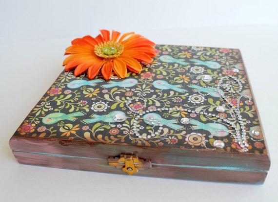 Hand Painted Box, Altered Cigar Box, Jewelry Box, Stash Box, Altered Art Box, Gift Box, Peacock Blue and Orange