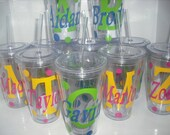 Set of 12 personalized acrylic cups with lids and straws. Great for wedding parties.