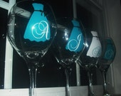 10 Personalized Bridesmaid wine glass.Strapless gown.