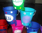 Personalized sand pail, bucket with shovel - name or monogram, polka dots, bunnys, chicks or custom design.Buy 3 get 1 free