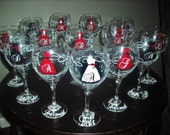 Set of 12 wine, 12 mugs Personalized Bridesmaid wine glasses. Strapless gowns. .