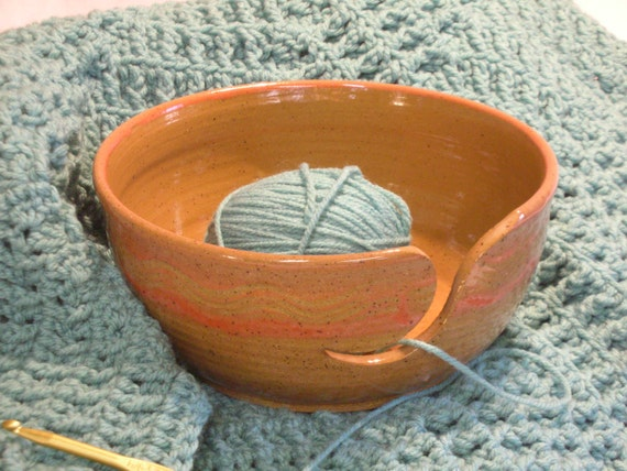 "Stoneware Yarn Bowl. Approx. Dim. 3-1/4"" high x 7-1/4"" in diameter"