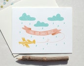 This too shall pass sympathy clouds and airplane card pink blue yellow white spring message plane