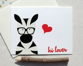 hi lover geek chic hipster totem animal with heart and glasses zebra card