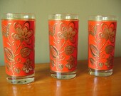 Vintage Glasses Barware Red Gold Flowers