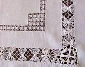 Vintage Linen Tablecloth Topper White Drawnwork Cutwork Square