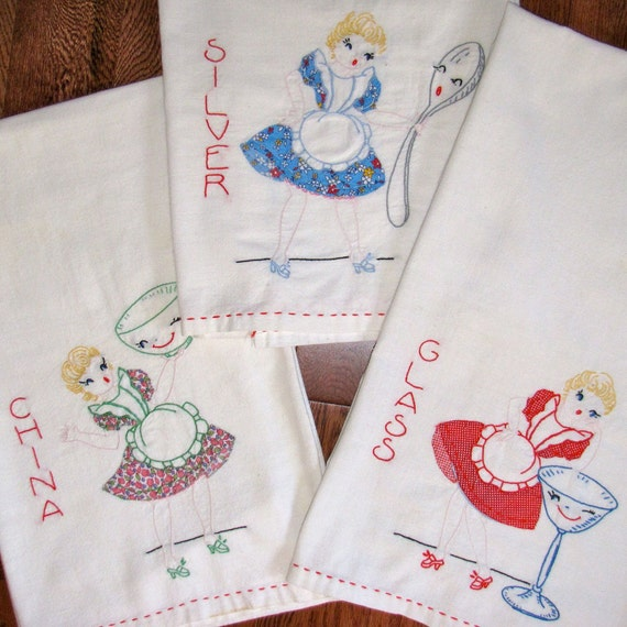 Vintage Linen Applique Embroidered 3 Tea Towels Girls and Dishes