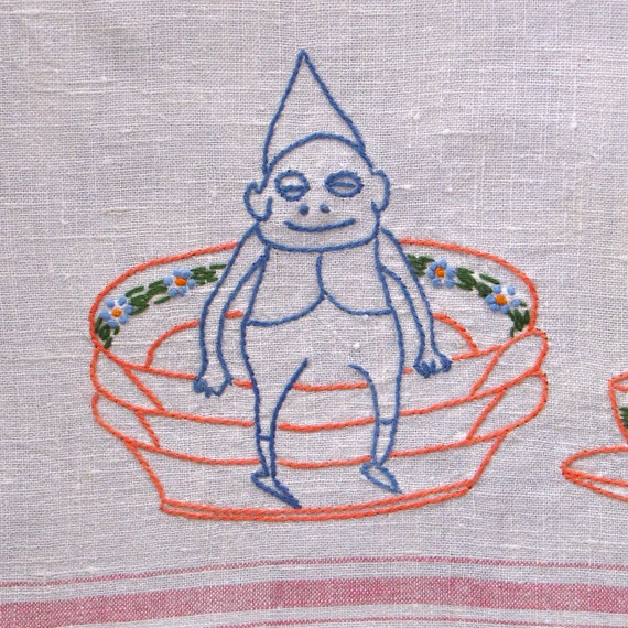 Vintage Towel Irish Linen Embroidered Gnome Tea Red Stripes