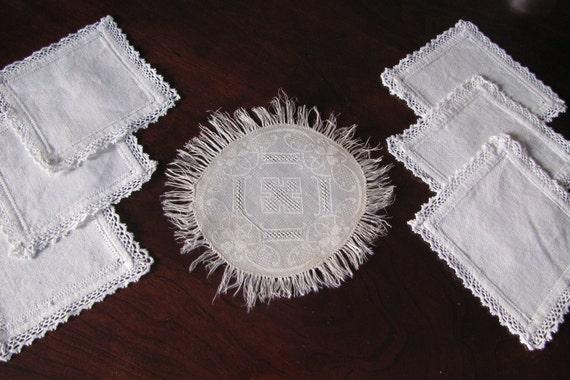 Vintage Linen Coasters Wine Glass Bottle Damask Crochet