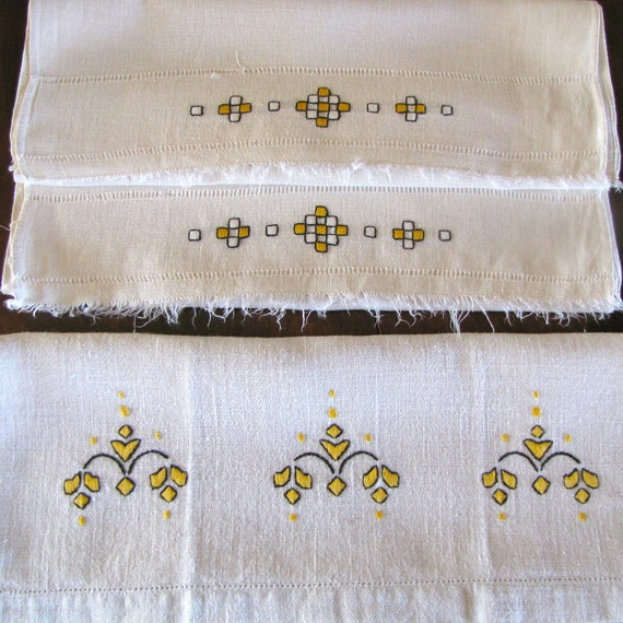 Vintage Linen Tea Towels Three Gold Yellow Black Embroidery