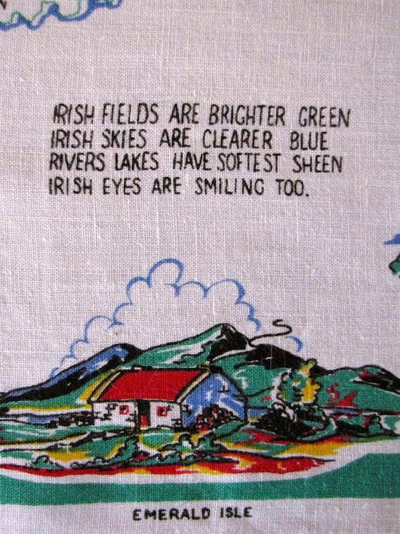 Vintage Linen Tea Dish Towel Ireland Irish Souvenir