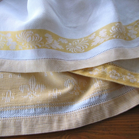 Vintage Linen Towels Runners Damask Three Yellow