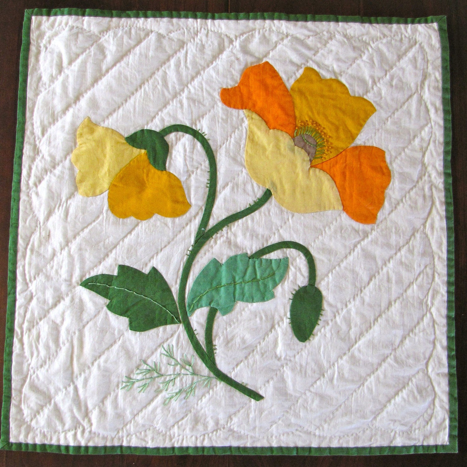 Vintage Quilt Block Applique Poppy Finished Yellow Orange