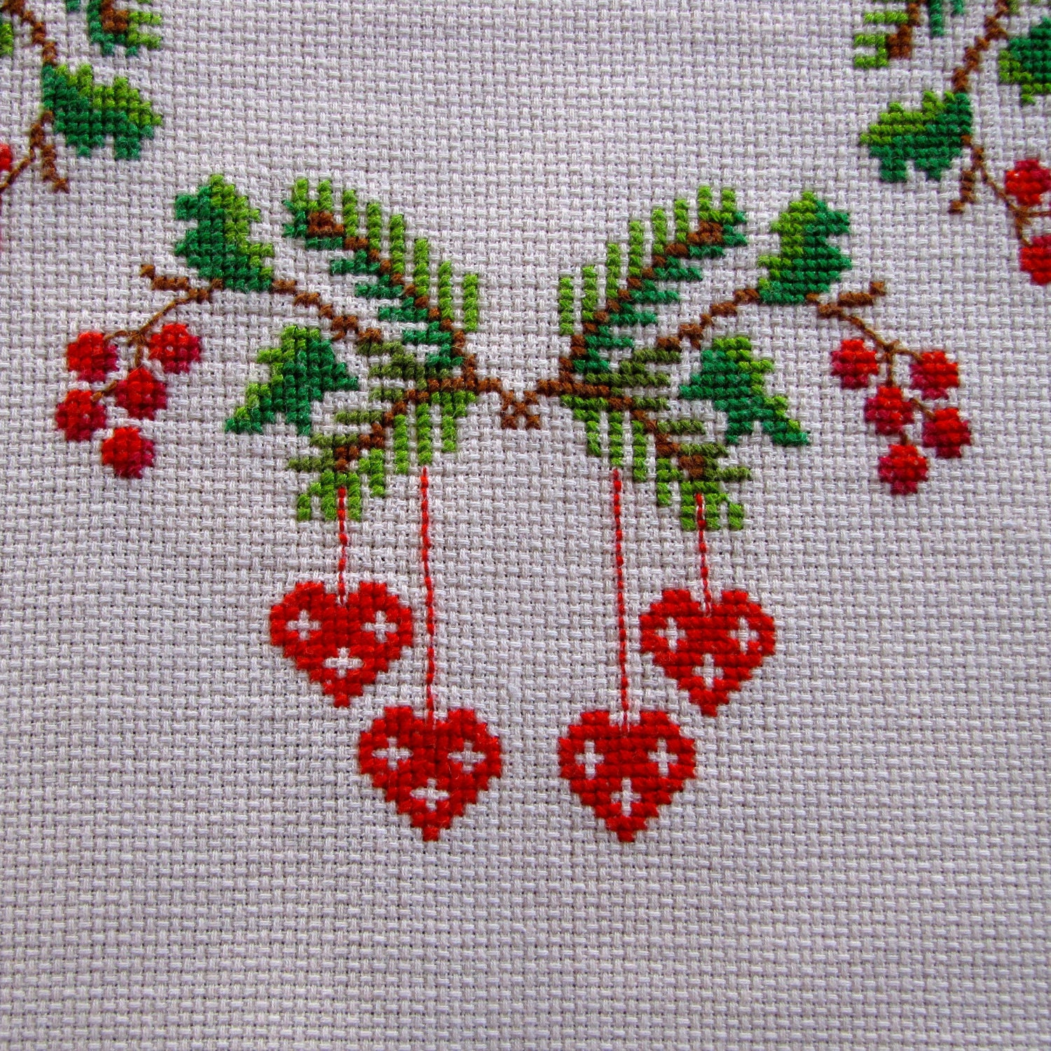 Vintage Linen Tablecloth Embroidered Cross Stitch By Kerrycan