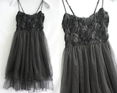 Ruffle Party Dress - Romantic Night Cocktail Dress - Vintage Sexy Black Rose Little Black Dress
