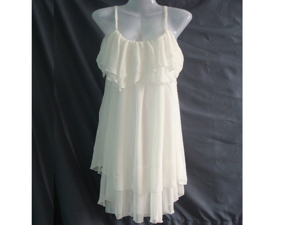 Soft White Cocktail Dress - Sweet Heart Chiffon Dress - Romance Night