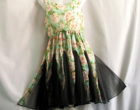 SUMMER SALES 70% OFF Floral Cocktail Dress Sweet Heart Party Dress Chiffon Dress/ Sundress