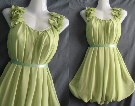 Green Chiffon Party Dress - Romance Prom Ruffle Cocktail Dress - Sweet Angel Bridesmaid Dress