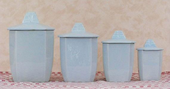 OLLIES WEEKLY SALE 4 Kitchen Storage Jars  French Art Deco