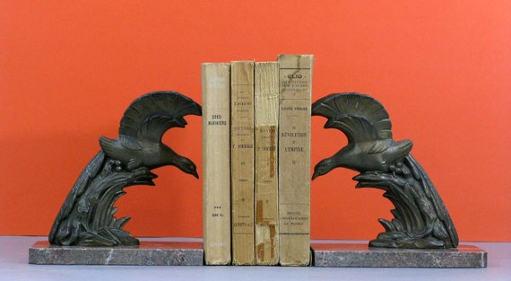 PRICE REDUCED art deco book ends -  antique heavy french bronzed spelter