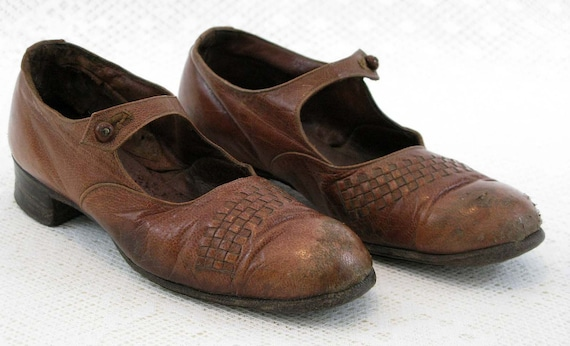 PRICE REDUCED a pair of little girls french shoes dated circa 1930