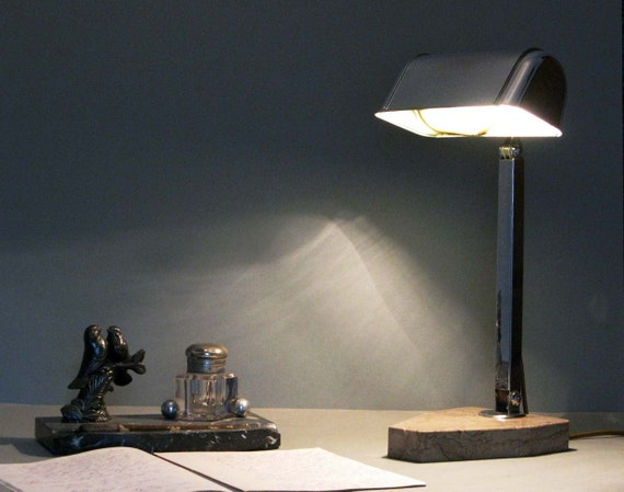 RESERVED FOR FARIS French art deco desk lamp - Chrome on marble base
