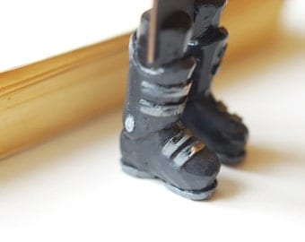 SALE! Ski boots bookmark. Legs in the book. Funny present for skier, bookworm.