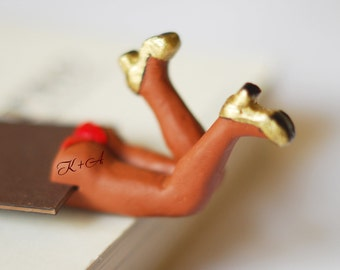 SALE! Sexy brown bookmark with personalized tattoo on butt. Chocolate brown skin. Monogrammed desk accessory.