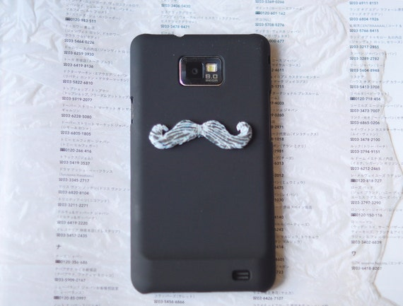 White mustache on Galaxy s2 phone. Unusual black hard case for Samsung halaxy sii. phone cases men