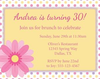 Spring Brunch Birthday Brunch Invitation DIY Printable