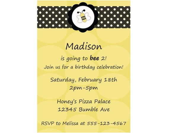 Items similar to bumble bee invitation birthday invite diy for Spelling bee invitation template